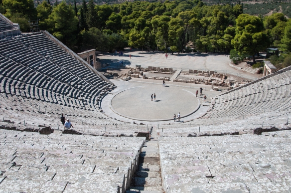 Looking down at the stage at Epidavros